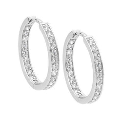 Ellani Stg Silver white CZ single row inside out 18mm hoop earrings