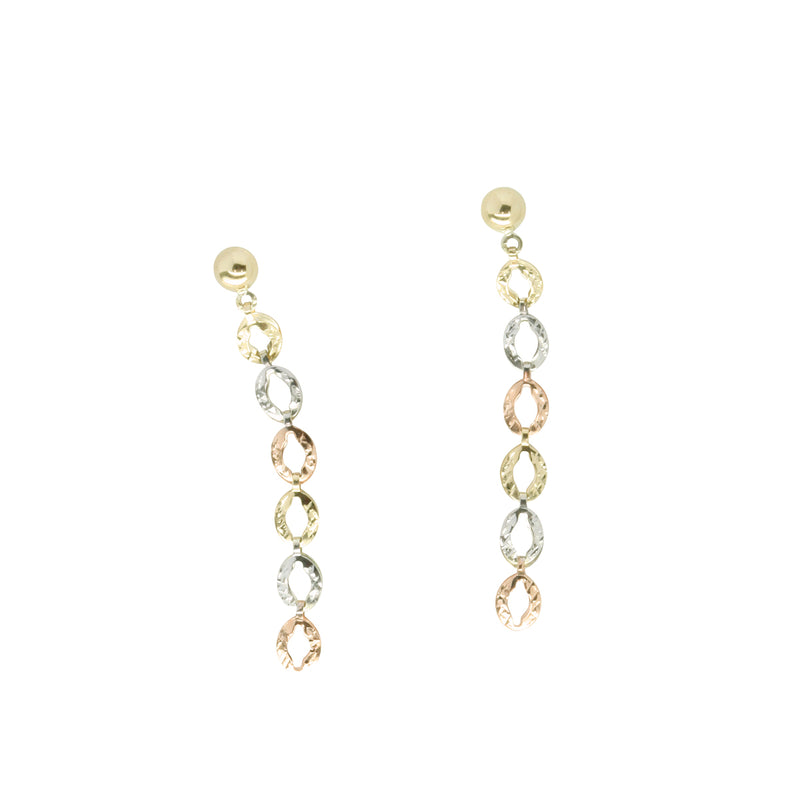 9k Gold TRI-tone Drop Earrings