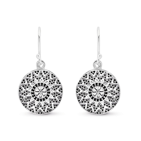 Stg Silver Round Detailed Flat Maya Disc Hook Earrings
