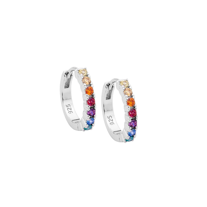Ellani Stg Silver multi colour CZ 14mm Hoop earrings