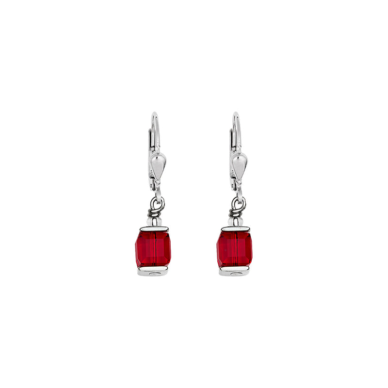 CL 0094/20-0300 Earrings St/St with Red Colour Swarovski Crystals & St/Stl Fitting