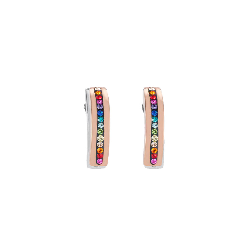 Coeur De Lion CL 0226/21-1500 Earrings Rose Gold Plt St/St with Multi Colour Crystal