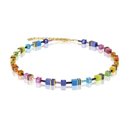 Coeur De Lion CL 2838/10-1573 Gold Plt St/Stl Bright Multi Colour Geo-Cube Necklace