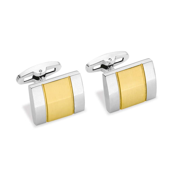 CUDWORTH STAINLESS STEEL & GOLD PLATE CUFF LINKS