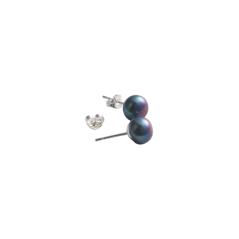 Stg Silver Fresh Water Black Dyed 5mm Button Pearl Studs