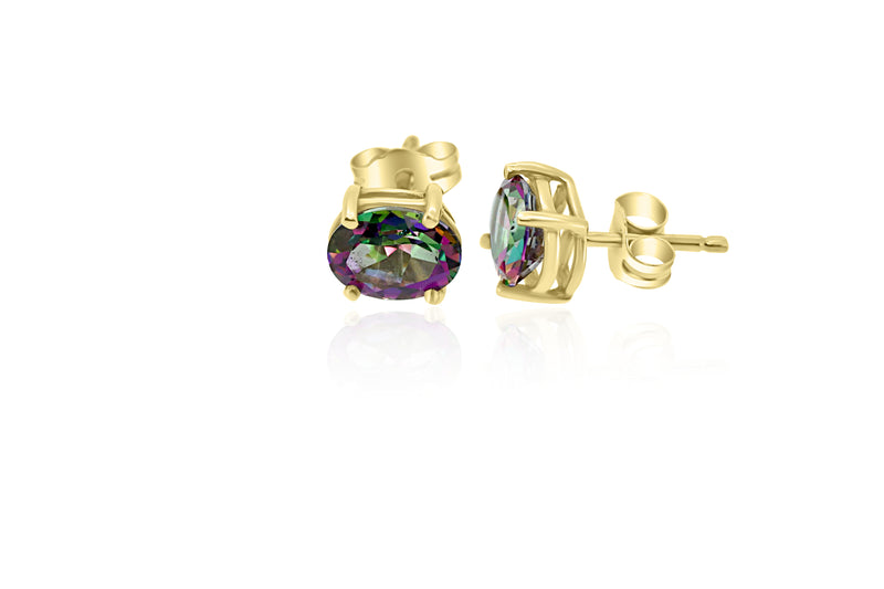 9k Yellow Gold Mystic Topaz Earrings