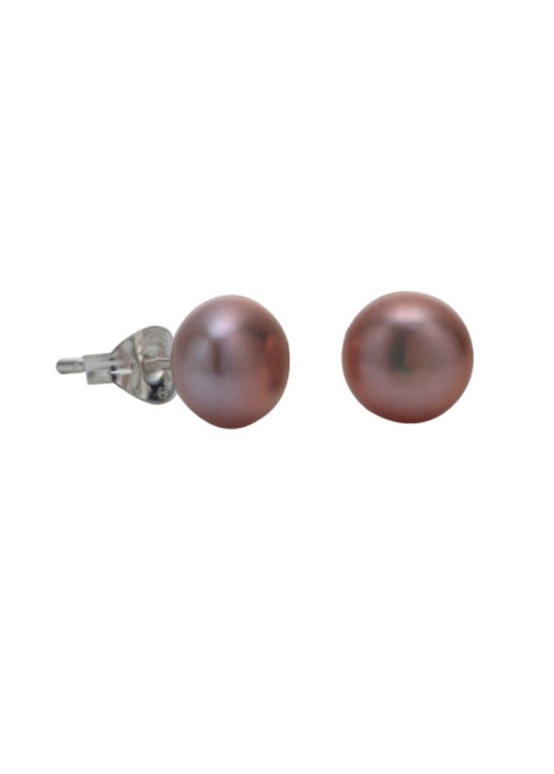 Stg Silver 8mm Button FW Pearl Stud Earrings