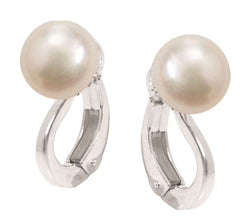 Fresh Water 8-8.5mm White Button Pearl with Silver Pearl Clip-on Fitting