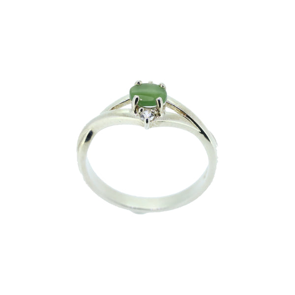 Stg Silver Jade & CZ ring 5x4mm