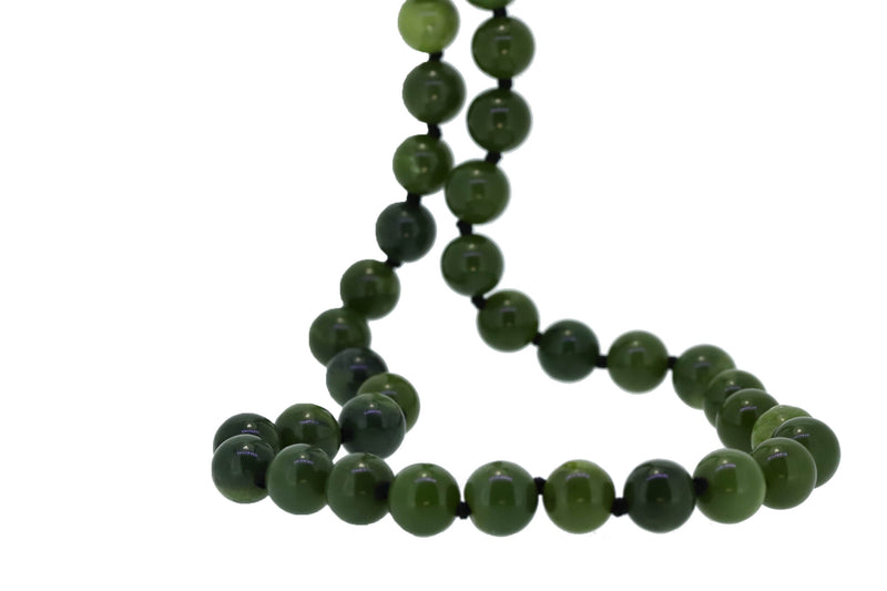 NZ Greenstone 8mm beads necklace with ss clasp