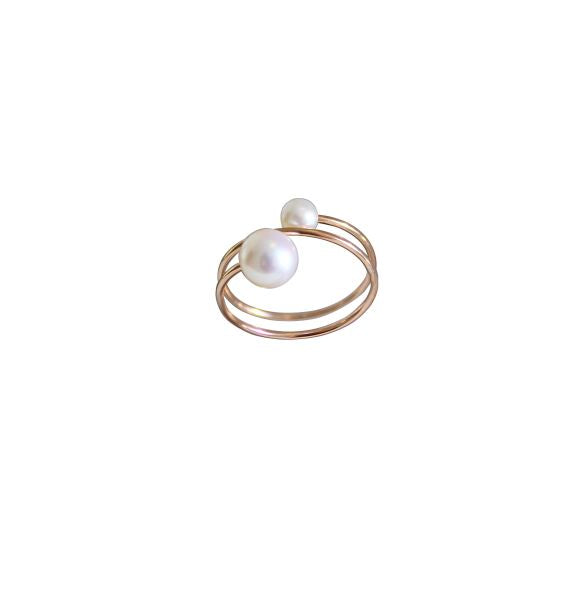 Rose Gold Filled Spring Ring with Fresh Water White Round Pearls 4mm & 6.5mm