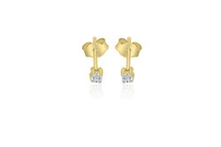 9K Yellow Gold Claw Set Diamond Earrings