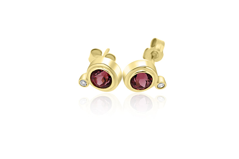 9K Yellow Gold Diamond & Rhodolite Garnet Earrings