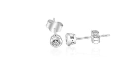 9K White Gold  Rubover Diamond Earrings