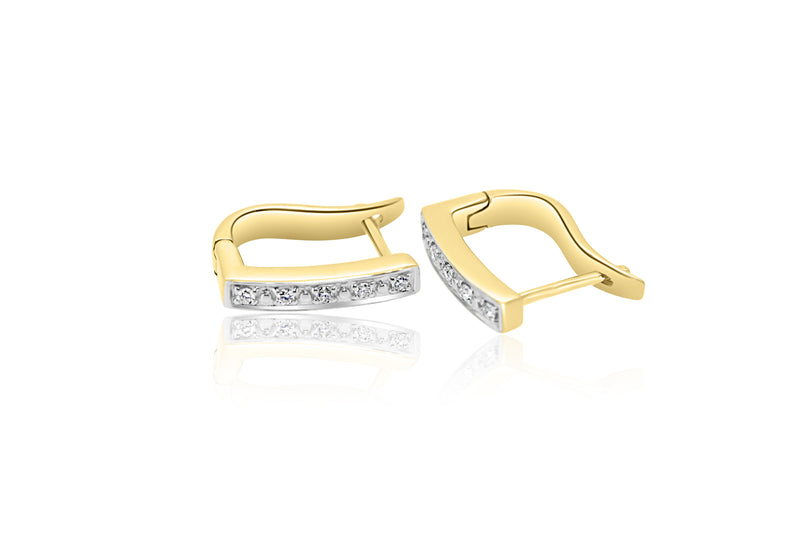 9k Yellow Gold Diamond Earrings Hinged Loop