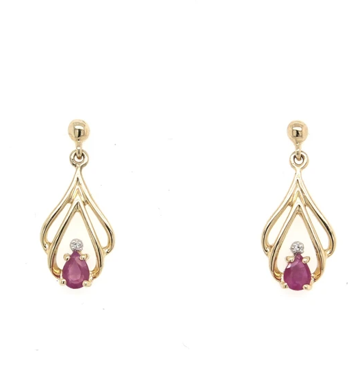 9K Yellow Gold Pear Shape Ruby & Diamond Earrings