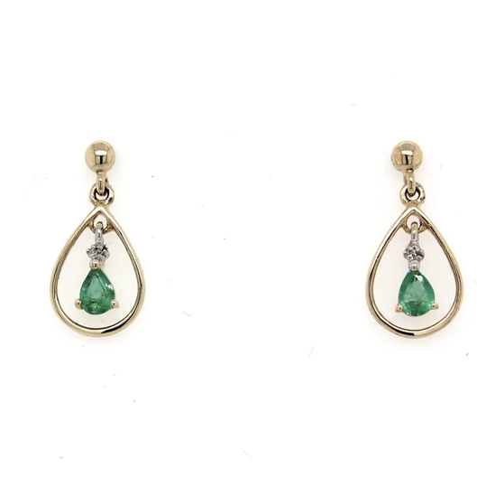 9K Yellow Gold Pear shape Emerald & Diamond Earrings with Fine Gold Halo