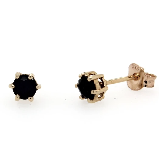 9K Yellow Gold 6 Claw Sapphire Stud Earrings