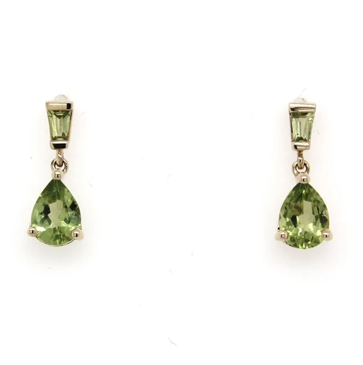 9K Yellow Gold Pear Shaped & Tapered Baguette Peridot Drop Earrings