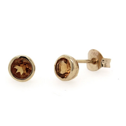 9K Yellow Gold Round Citrine Rub-over Stud Earrings