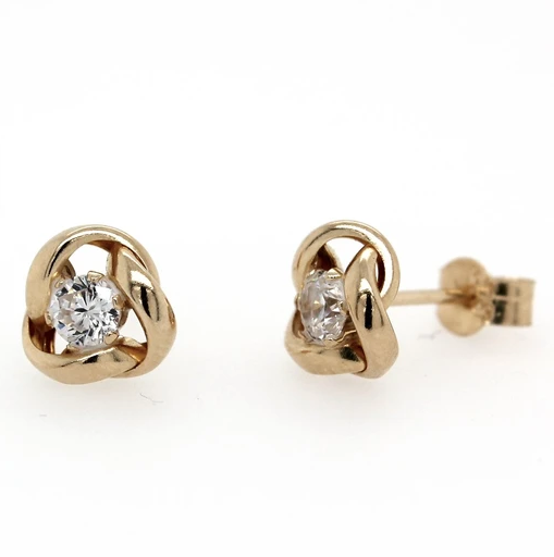 9K Yellow Gold CZ 3 Fold Knot Stud Earrings