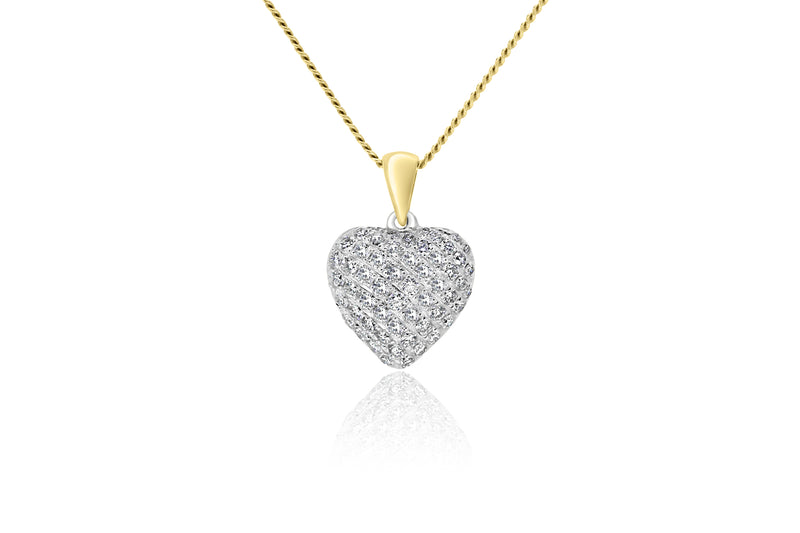 9k Yellow Gold & White Gold 2-tone Diamond Pendant ( Diamond Heart Pendant)