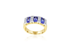 18k Yellow Gold 3-Stone Tanzanite Ring