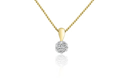 9k Yellow Gold Cluster Diamond Pendant