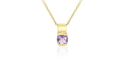 9K Yellow Gold Cushion Cut Amethyst Pendant