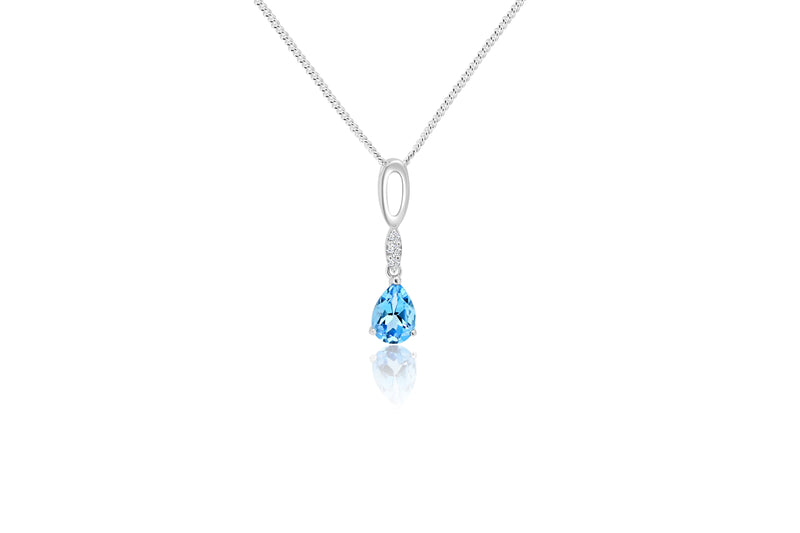 9K White Gold Diamond & Blue Topaz Pendant