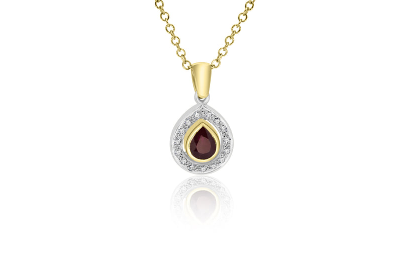 9k Yellow Gold & White Gold 2-tone Gold Ruby & Diamond Pendant