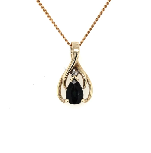 9K Yellow Gold Pear Shaped Sapphire & Diamond Pendant