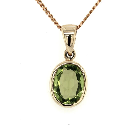 9K Yellow Gold Oval Peridot Pendant