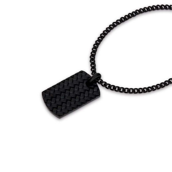 CUDWORTH BLACK STAINLESS STEEL TYRE PATTERN DOG TAG WITH 55CM CHAIN