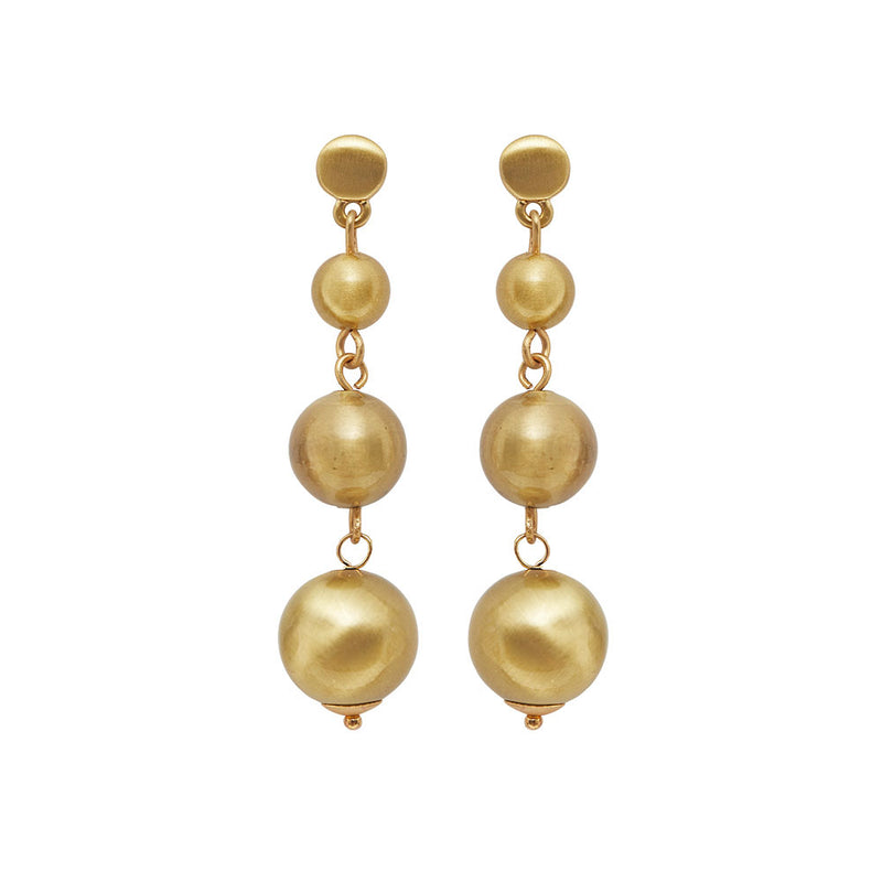 Dansk Tara Droplet Gold Colour Ion Plt Earrings with Surgical Steel 5.5cm