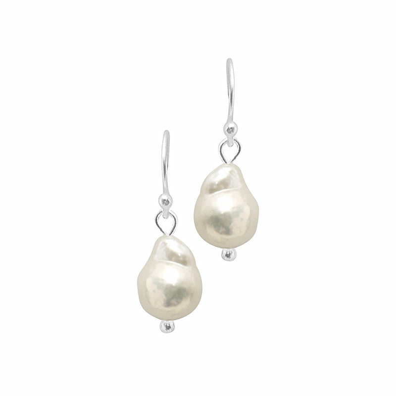 Dansk Audrey Earrings,Silver Colour Ion Plt, Baraque Freshwater Pears 2cm with Surgical Steel