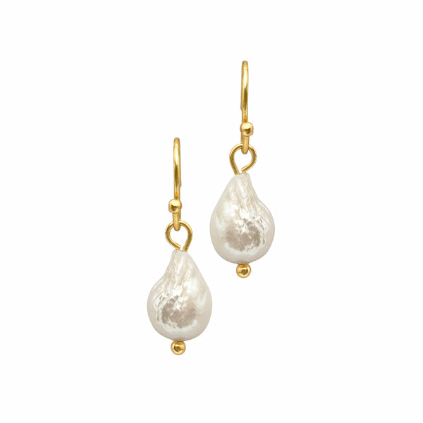 Dansk Audrey Earrings, Gold Colour Ion Plt, Baraque Freshwater Pearls 2cm with Surgical  Steel