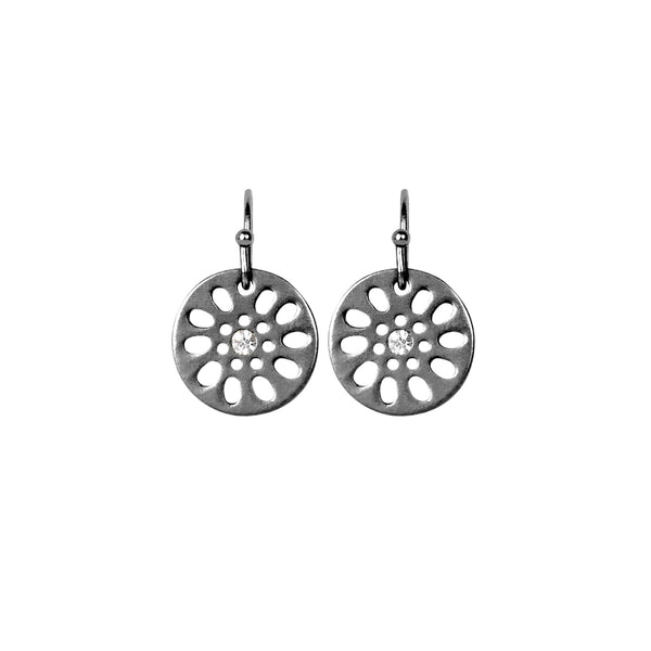 Dansk Daisy Earrings, Hematite Colour Ion Plt with Surgical Steel, CZ, 1.3cm
