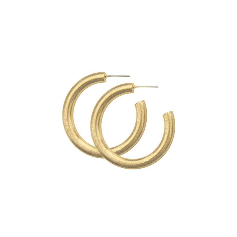 Dansk Tara Spinning, Chunky Hoop Small Earrings Gold Colour Ion Plated with Surgical Steel 3cm