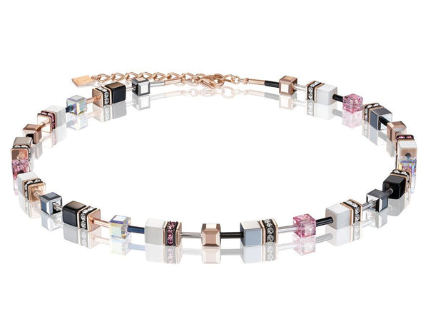 Coeur De Lion CL NECKLACE ST/ST ROSE GOLD PLT, ROSE/WHITE/SLIVER/BLACK GEO-CUBE WITH HEMATITE RHINESTONE/GLASS SYNTHETIC TIGERS EYE & SWAROVSKI CRYSTAL