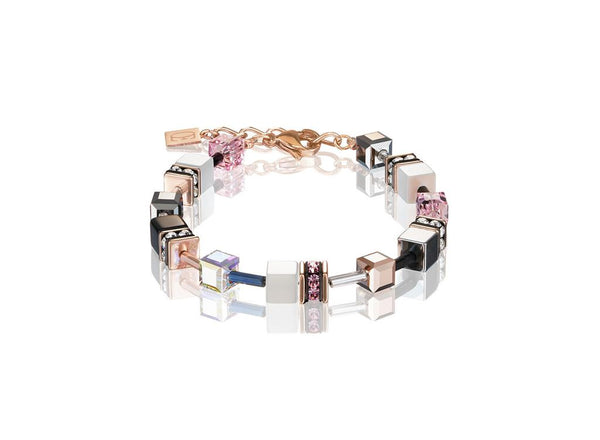 Coeur De Lion CL BRACELET ST/ST ROSE GOLD PLT, ROSE/WHITE/SLIVER/ BLACK GEO-CUBE WITH HEMATITE/RHINESTONE/GLASS SYNTHETIC TIGERS EYE & SWAROVSKI CRYSTAL