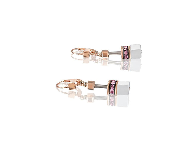 Coeur De Lion Earrings,  ST/ST ROSE GOLD PLT, ROSE/WHITE/SLIVER GEO-CUBE WITH RHINESTONE/GLASS SYNTHETIC TIGERS EYE & SWAROVSKI CRYSTAL WITH ST/SIL FITTINGS