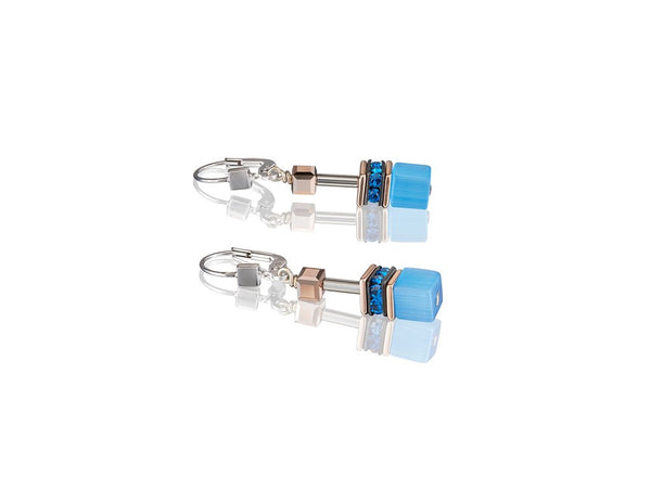 Coeur De Lion Earrings, BLUE GEO-CUBE ST/STL W/ ROSE GOLD PL. RHINESTONE, SYNTHETIC TIGER EYE & SWAROVSKI CRYSTALS WITH ST/SIL FITTINGS