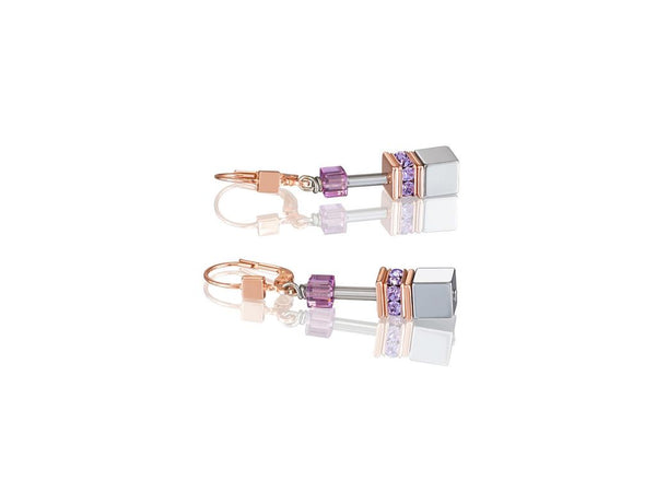 Coeur De Lion Earrings CL NATURAL SELECTION-EARRINGS GEO-CUBE ROSE GOLD PLT ST/STIW/AMETHYST/ RHINESTONE, OXIDE TITANIUM HAEMATITE & SWAROVAKI CRYSTALS WITH ST/SIL FITTINGS