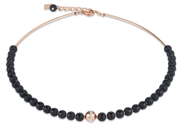 Coeur De Lion NECKLACE Matte and polished natural onyx contrasts stylishly with rose gold pave crystal spheres feature