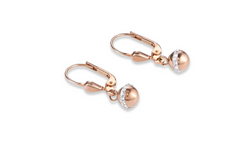 Coeur De Lion Earrings Matte and polished natural onyx contrasts stylishly with rose gold pave crystal spheres feature