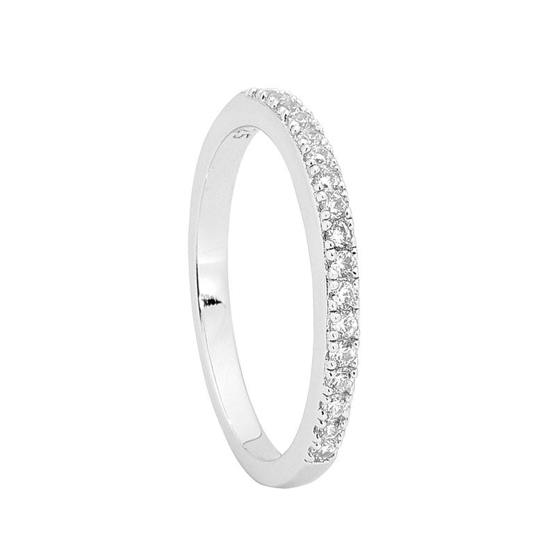 ELLANI STG SILVER SINGLE ROW WH CZ BAND RING ( MATCHING RING R451)