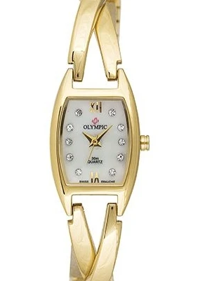 Olympic Ladies watch MOP CRYSTAL CROSSOVER GOLD BRACELET