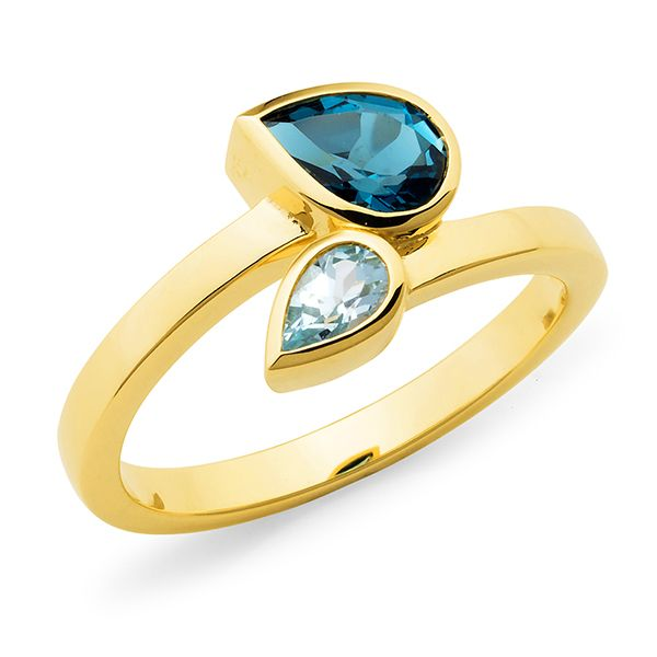 9K YELLOW GOLD RING 1* LOND BLUE TOPAZ PEAR 1* BLUE TOPAZ PEAR BEZELS ON OFFSET BAND