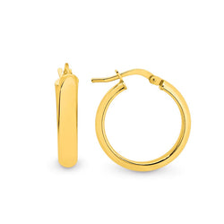Stg Silver 17x4mm gold plated creole hoop earrings